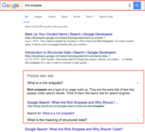 richs snippets on Google